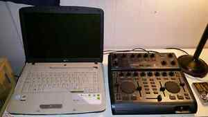 Acer aspire laptop and behringer bcd2000 dj mixer