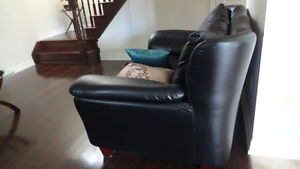 Dining table with five chairs , leather love seat and sofa