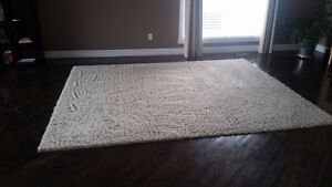 Cream 8 by 10 foot area rug