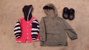 Size 3 Gap Jacket and New Button Up Jacket & Size 7 Crocs