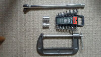 Colection of spanners, sockets and vice