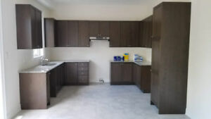 Solid Wood Kitchen Cabinets with Stone Counter Top, Never Used.