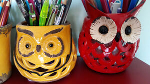 OWL WALL ART / PICTURE - PILLOWS, PENCIL HOLDER!
