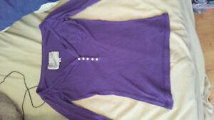 Purple, Size XS Campus Crew long sleeve shirt.