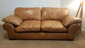 Tan Brown leather 3 seater sofa