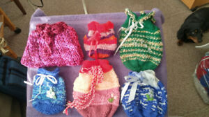 Hand knitted Draw String Bags