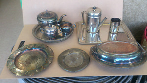 10 pieces of Silver and Brass items, trays, tea pots, plates