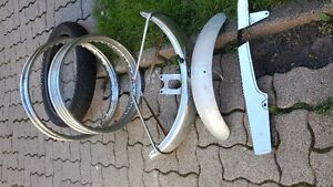 Assorted motorcycle parts.