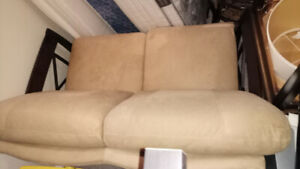Two Shermag Solid Dark Wood and Suede Loveseats
