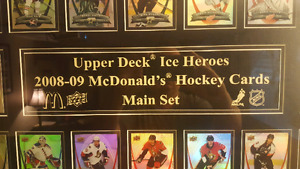 Upper deck ice heroes framed display.
