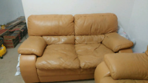 3 seater and love seat, Italian leather sofas
