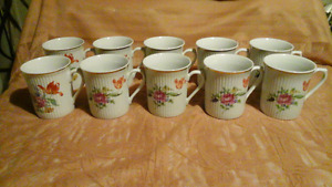FINE CHINA MUGS (6) + (4) - MADE IN GERMANY
