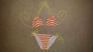 NEW Cute Hollister Bikini yellow orange stripes M S Edmonton Edmonton Area image 1