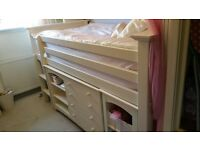 White Wooden Bed Bunk Bed with Storage Space at the Bottom Drawers