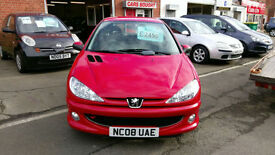 PEUGEOT 206 1.4 LOOK 3 DOOR BRIGHT RED 0NLY £16 WEEK P/LOAN 2008.08 REG