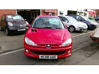 PEUGEOT 206 1.4 LOOK 3 DOOR BRIGHT RED 0NLY £16 WEEK P/LOAN 2008.08 REG