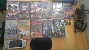 Sony PSP With 10 games 1 movie car and home charger case and bag