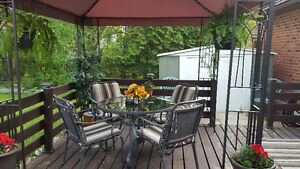 steel roof gazebo and all patio furniture