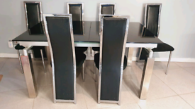 Black Glass Dinning Table with 6 chairs