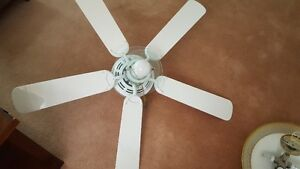 Used White 5 blade ceiling fan w/ one center light