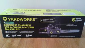 "Brand new 14"" Yardworks Cordless 40V Brushless Chainsaw"