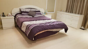Bed Frame with Mattress and Night Stands (Queen, Full)