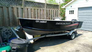 2008 Smoker  Craft  with EZ  Load Trailer  2017  20 HP 4 stroke