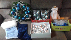 Beautiful Blue/Silver and Seafood Green Christmas Decor