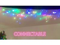 New LED 5M Multiple Colour Christmas Icicle Light White Rubber Cable Connectable Waterproof