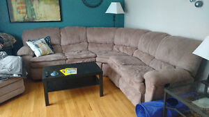 Beige Micro-suede Sectional Sofa for Sale