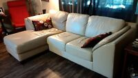 Leather couch with chaise lounge attached