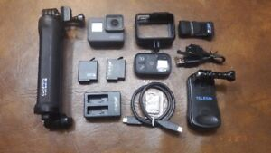GoPro Hero 6 black with selfie stick, remote control and more...