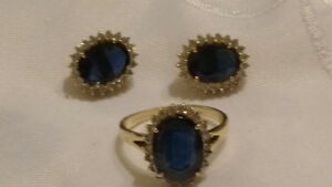 Diamond and sapphire earrings and ring.