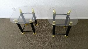SET OF BLACK AND BRASS LOOK END TABLES WITH PLEXIE GLASS TOPS