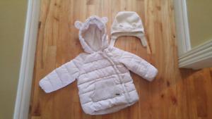 Manteau et chapeau bébé fille 18 mois - ensemble 30$