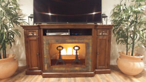 Tv console made of wood and stone inlay from the Brick