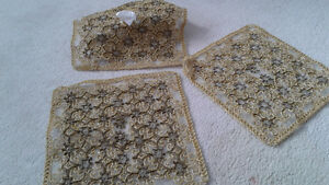 Set of 2 table runners and one tissue box cover