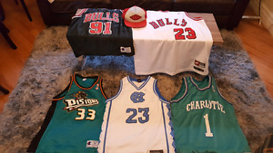 5 vintage NBA jerseys and MJ hat