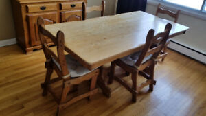 Antique 60s dinning table - Table diner antique 6 chairs/chaises