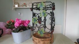 Wrought iron and Cane Umbrella Stand - very good condition