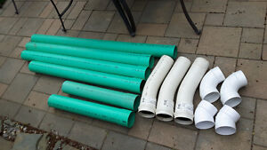 """4"""" PVC Drain Pipes and Elbows"""