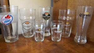 7 Assorted Bar Glasses-Upper Canada, Guiness,Corona, and Molson