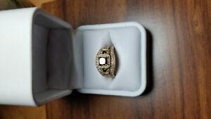 Black Diamond engagement ring  with matching wedding jacket
