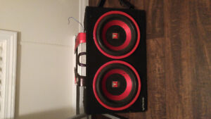 "2 10"" visonic subs in a matching box with amp"