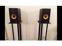 Adam a7 studio monitors with stands