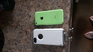 Green IPhone 5c with Otterbox case