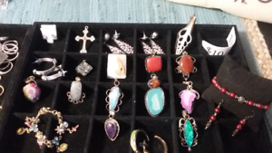 Jewelry lot 11 stone pendants, 6 earrings,2 bracelets, 1 cross