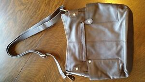 new brown genuine leather Danier shoulder bag purse with dustbag