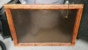 antique frosted glass window about 24 by 36 with brass hardware