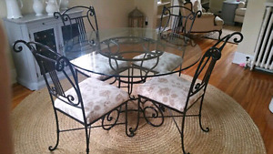 Wrought-iron and Glass Table